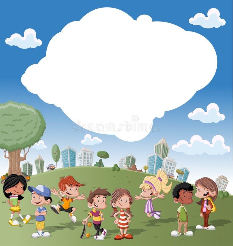 Miúdos dos desenhos animados ilustração stock