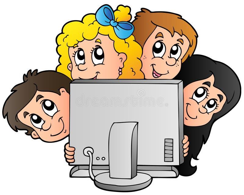 Miúdos dos desenhos animados com computador ilustração do vetor