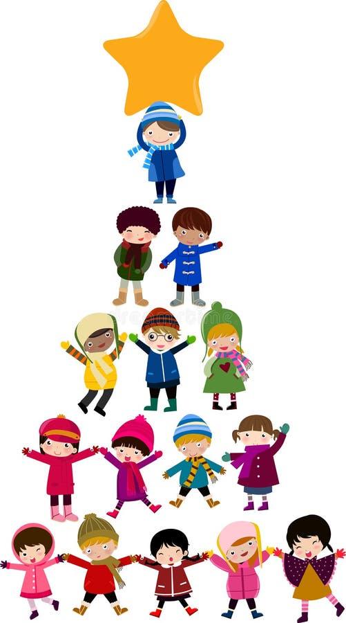 Miúdos dos desenhos animados da árvore de Natal