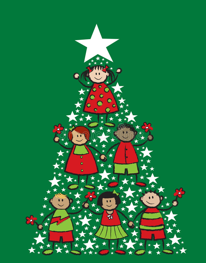 Miúdos dos desenhos animados da árvore de Natal ilustração stock