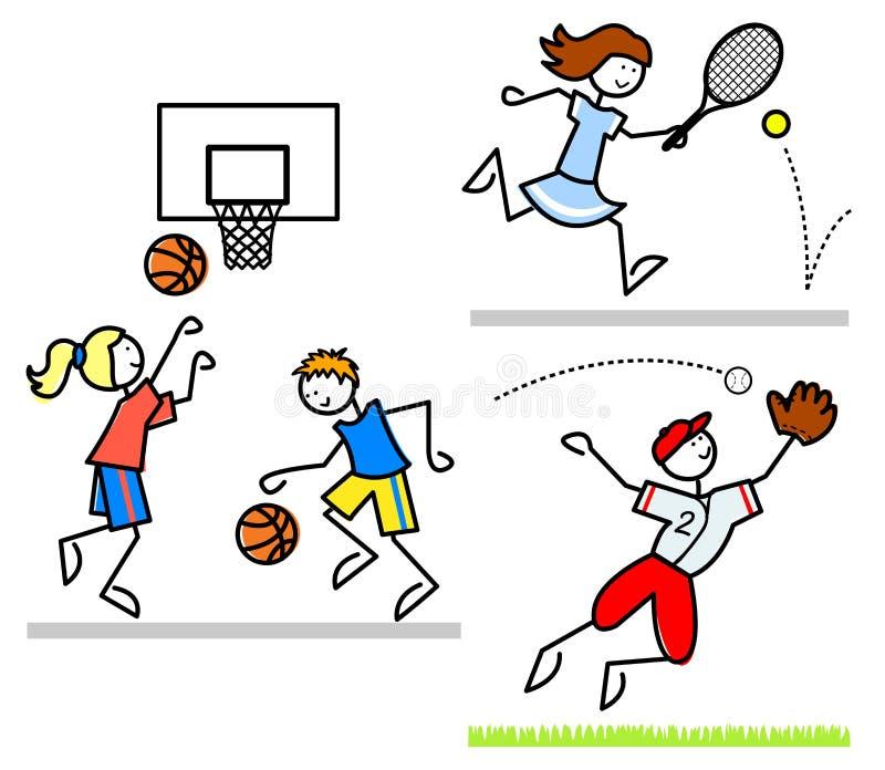 Miúdos dos desenhos animados dos esportes ilustração do vetor
