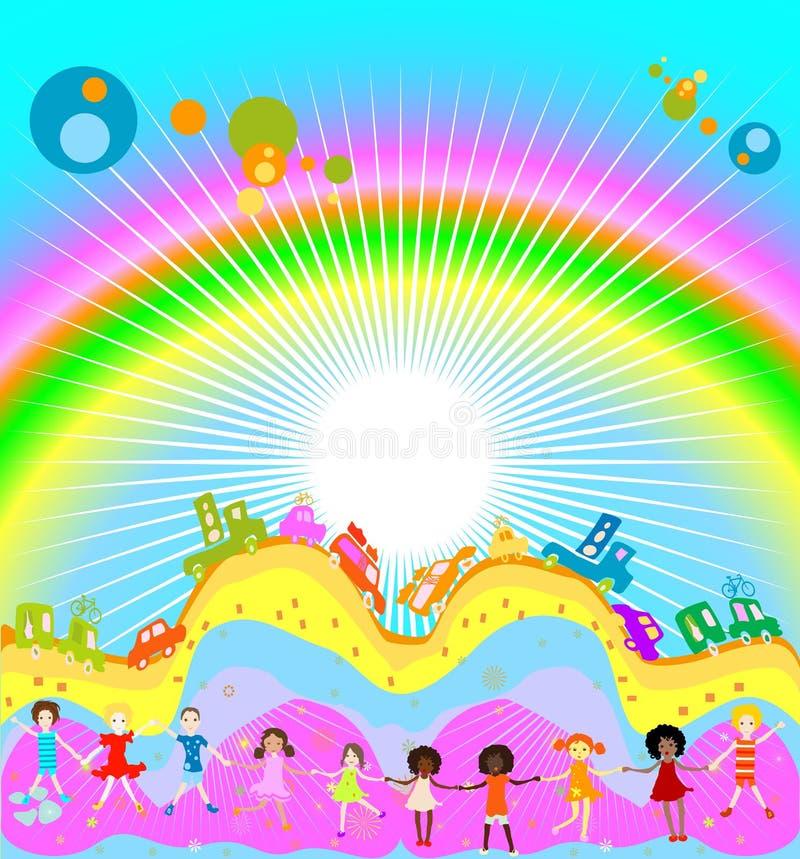Miúdos e arco-íris ilustração do vetor