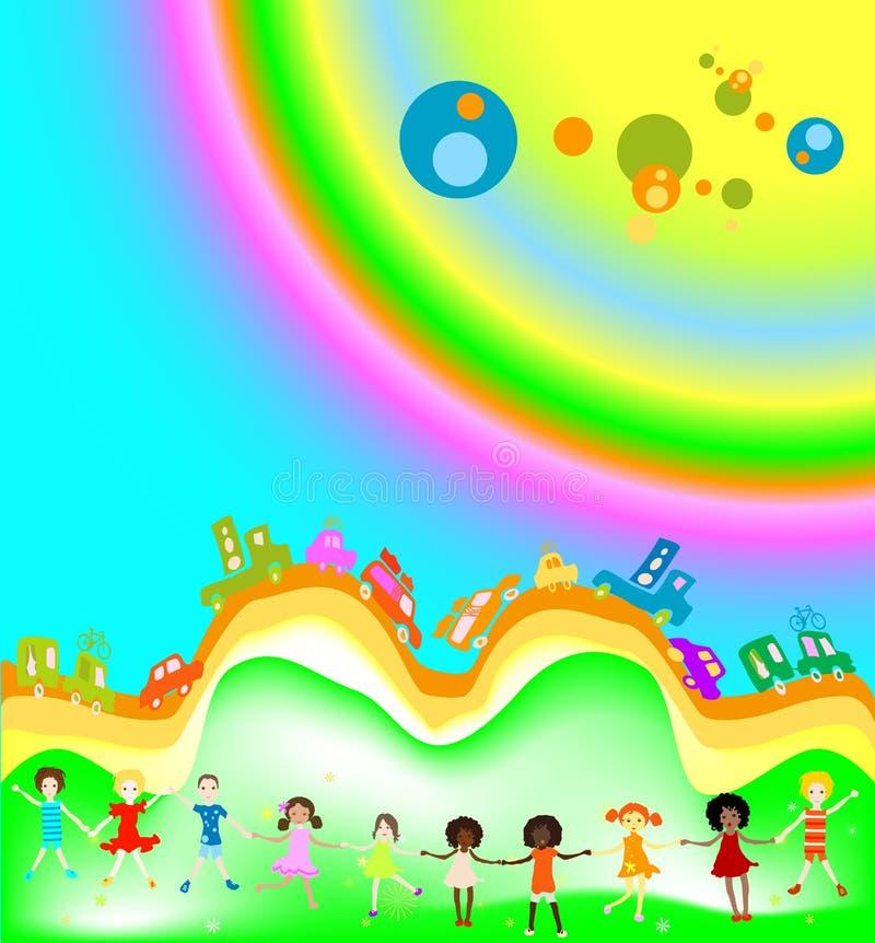 Miúdos e arco-íris ilustração royalty free