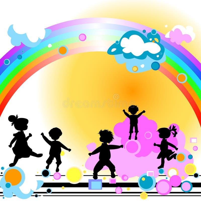Miúdos e arco-íris ilustração stock