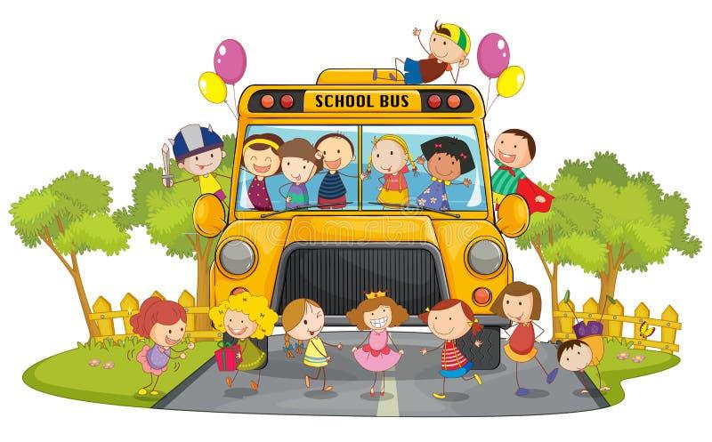 Miúdos e auto escolar ilustração royalty free