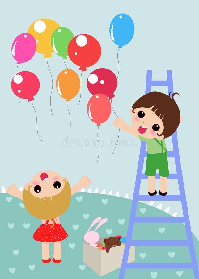 Miúdos e balões ilustração royalty free