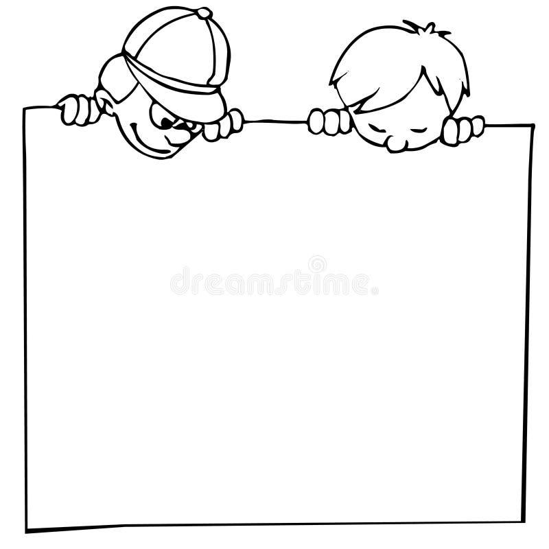 Miúdos e bandeira ilustração stock