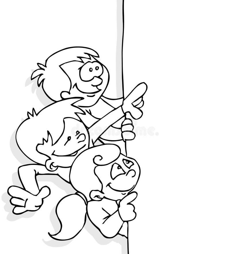 Miúdos e bandeira ilustração do vetor