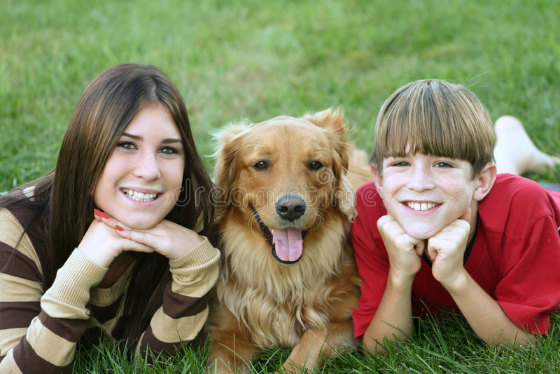 Miúdos e cão imagem de stock