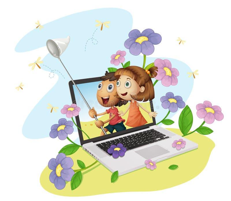 Miúdos e computador ilustração stock