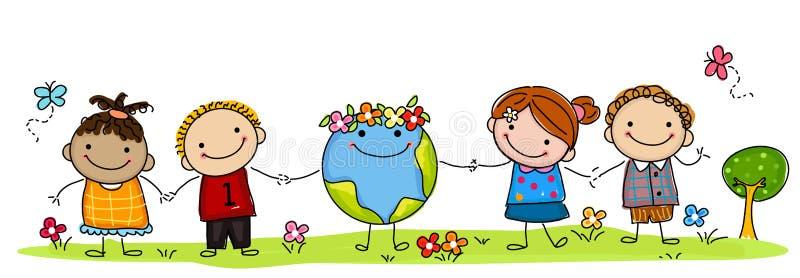 Miúdos e globo ilustração royalty free