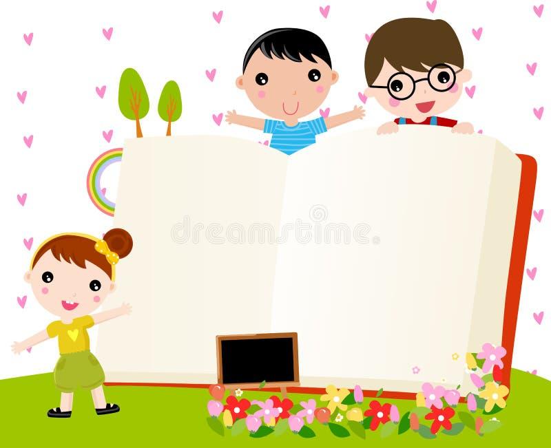 Miúdos e livro ilustração stock