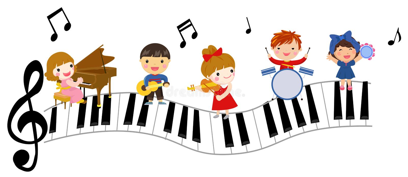 Miúdos e música ilustração royalty free