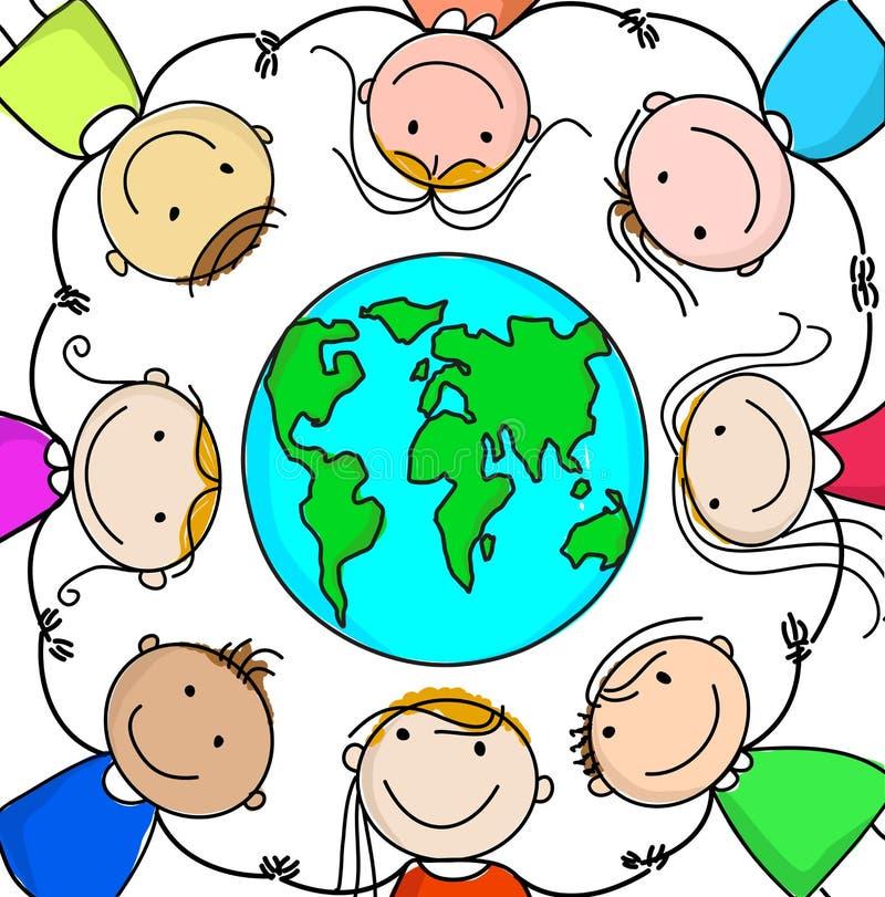 Miúdos e planeta ilustração royalty free