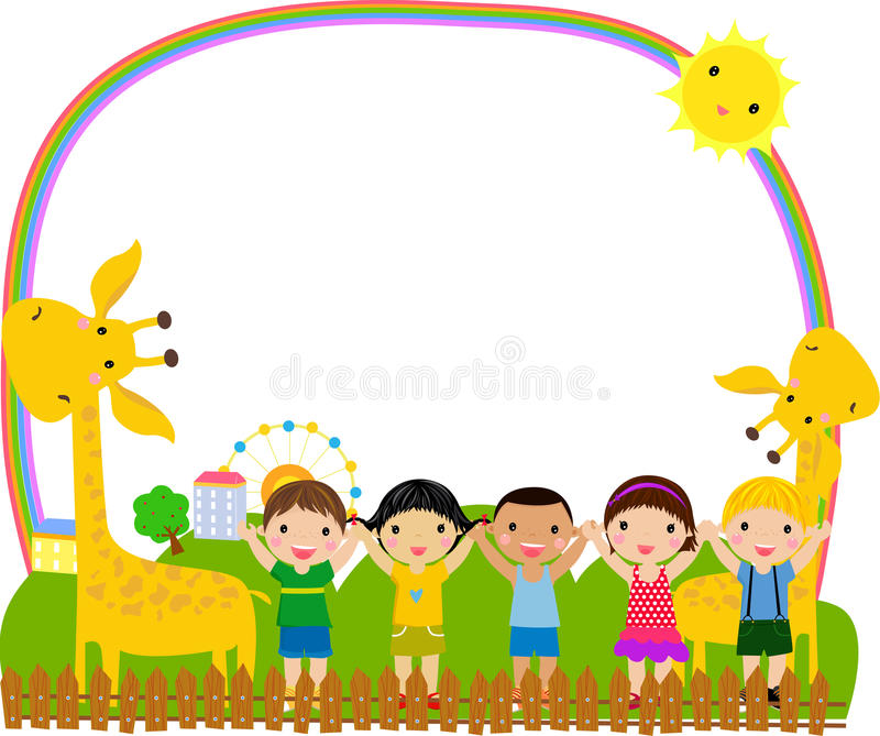 Miúdos e quadro ilustração stock