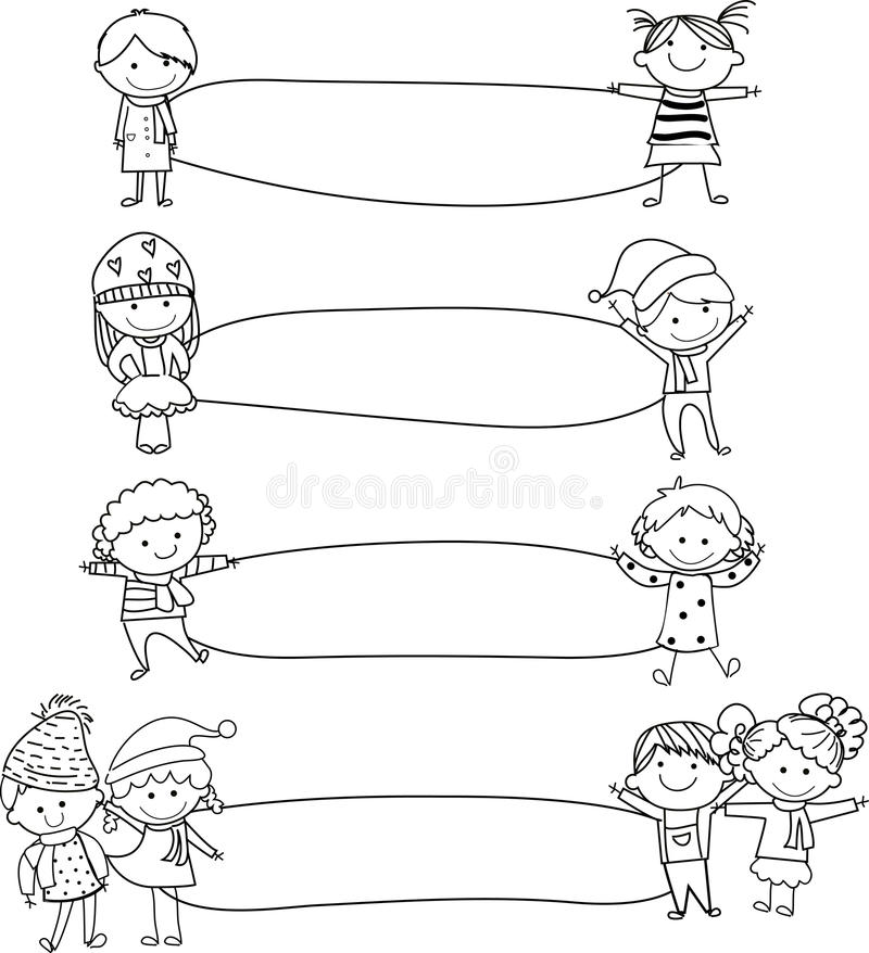 Miúdos e quadro ilustração royalty free