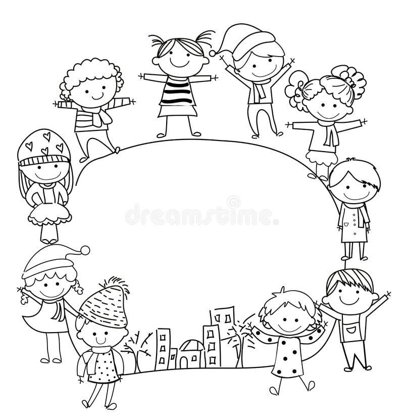 Miúdos e quadro ilustração do vetor