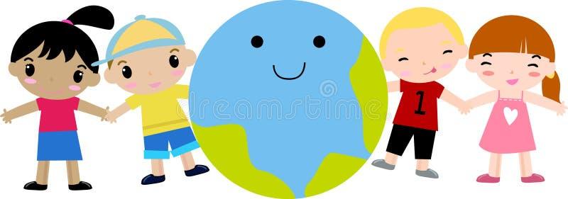 Miúdos e terra felizes ilustração royalty free