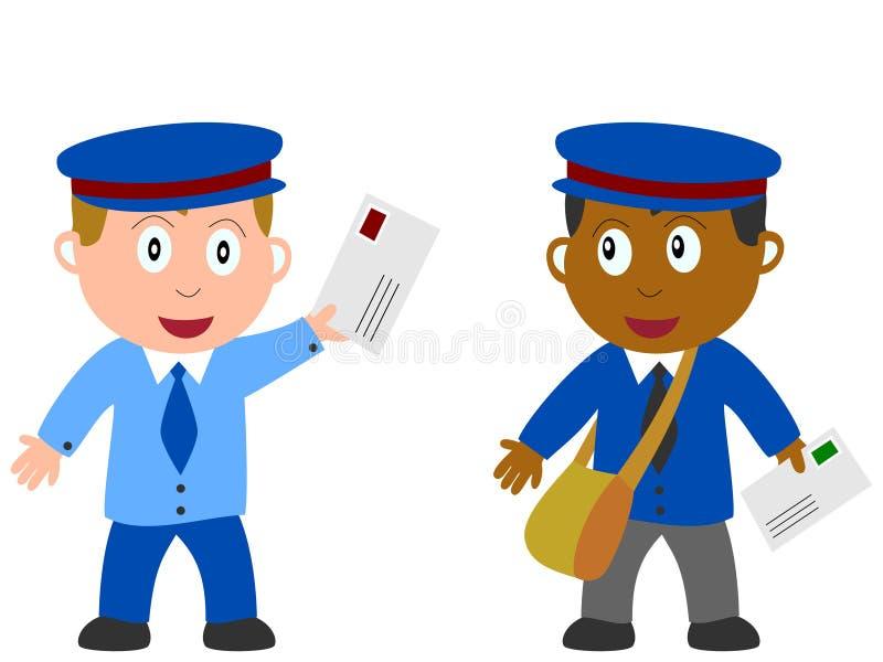 Miúdos e trabalhos - carteiro ilustração do vetor