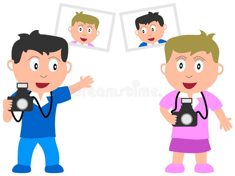 Miúdos e trabalhos - fotógrafo ilustração stock