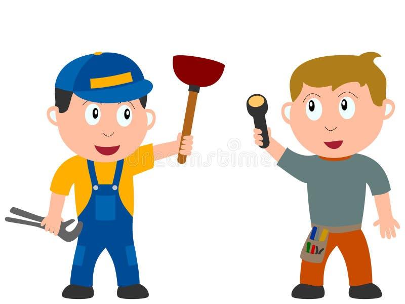Miúdos e trabalhos - trabalhadores ilustração royalty free