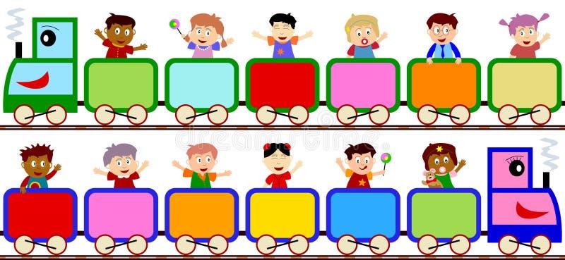 Miúdos em bandeiras do trem
