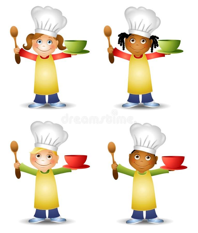 Miúdos em chapéus do cozinheiro chefe