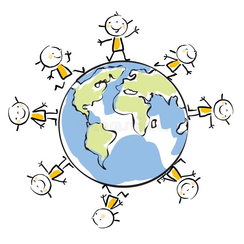 Miúdos em torno do globo ilustração stock