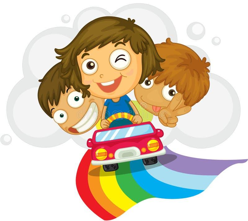 Miúdos em um carro ilustração do vetor