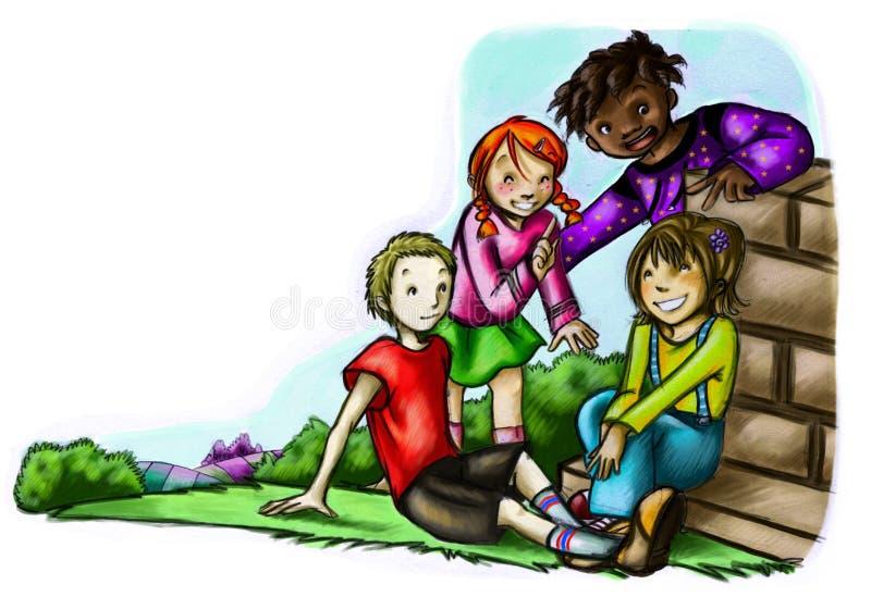 Miúdos em um parque ilustração stock