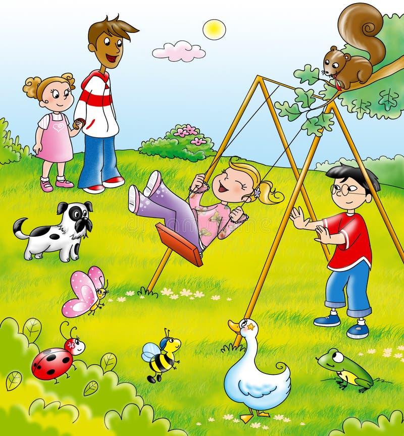Miúdos em um parque ilustração royalty free