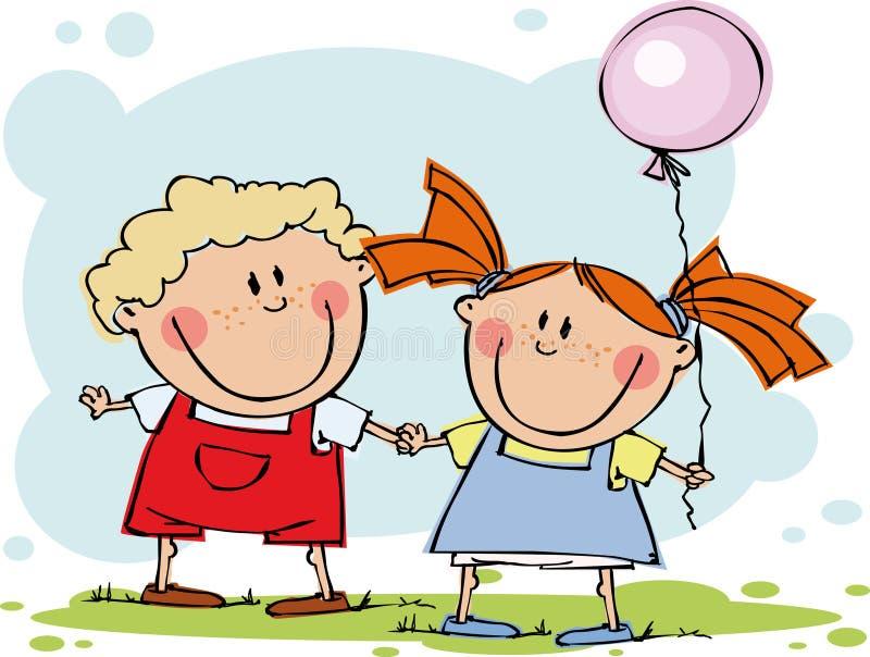Miúdos engraçados com balão ilustração royalty free