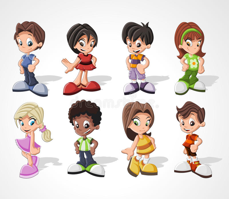 Miúdos felizes bonitos dos desenhos animados ilustração do vetor