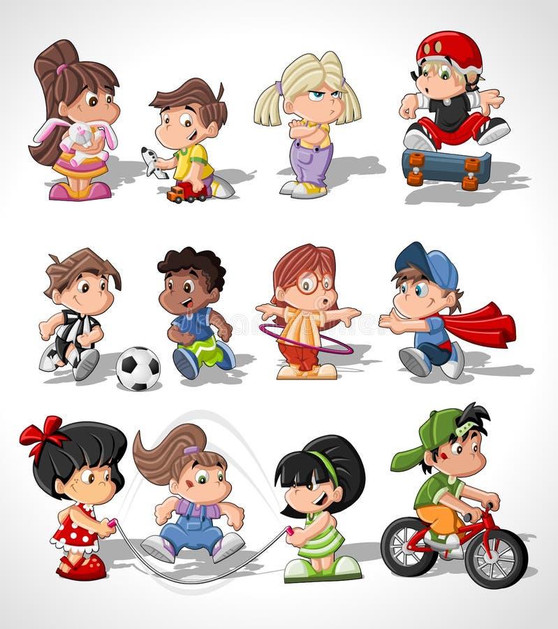 Miúdos felizes bonitos dos desenhos animados ilustração stock