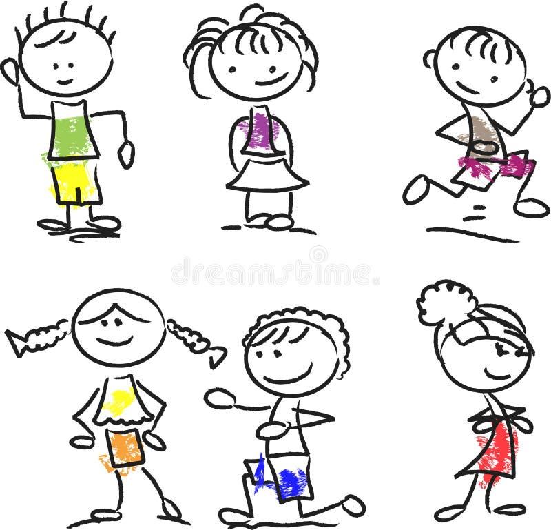 Miúdos felizes bonitos dos desenhos animados, vetor ilustração stock