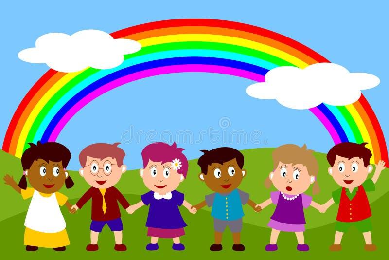 Miúdos felizes com arco-íris ilustração royalty free