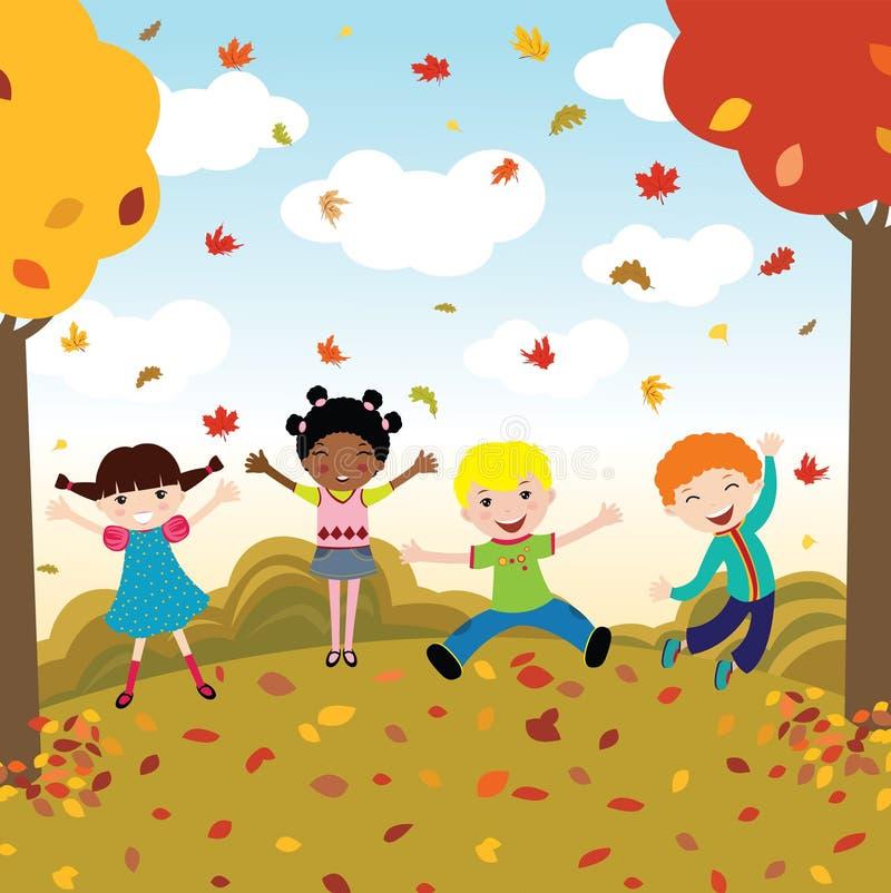 Miúdos felizes no outono ilustração royalty free