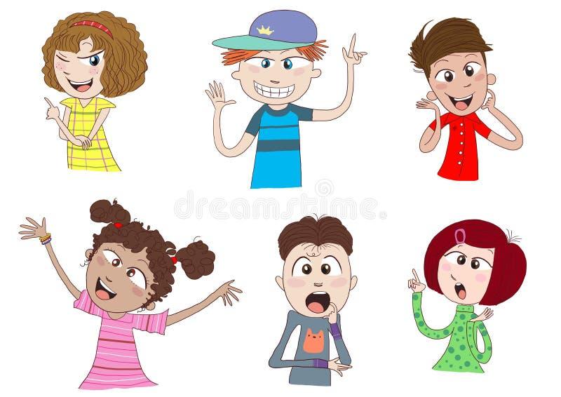 Miúdos felizes ou fala dos adolescentes ilustração stock