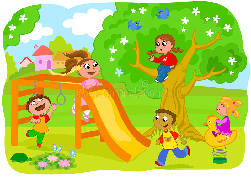 Miúdos felizes que jogam no campo ilustração royalty free