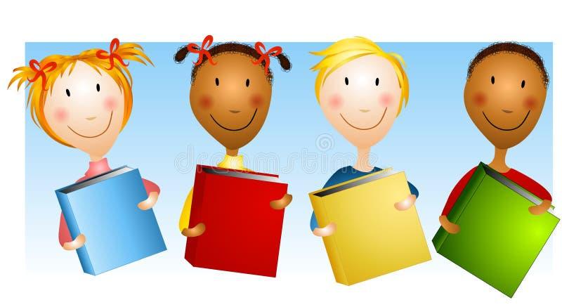 Miúdos felizes que prendem livros ilustração stock
