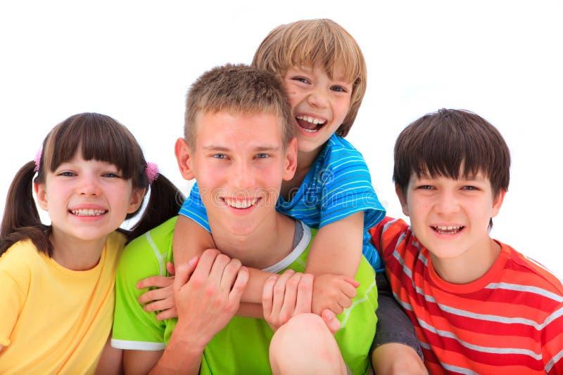 Miúdos felizes, sorrindo fotos de stock royalty free