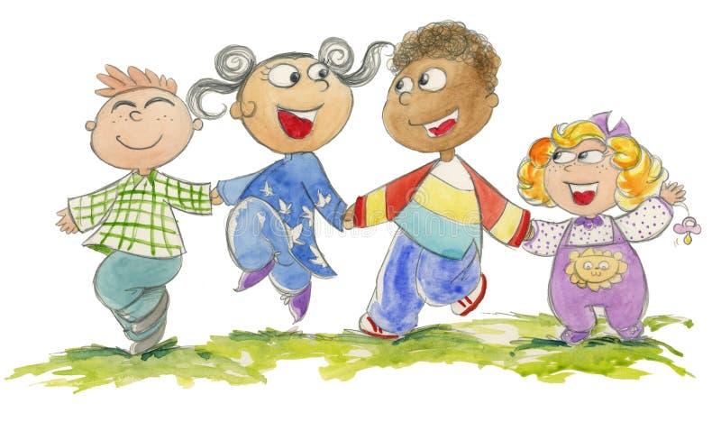 Miúdos felizes - watercolour ilustração royalty free