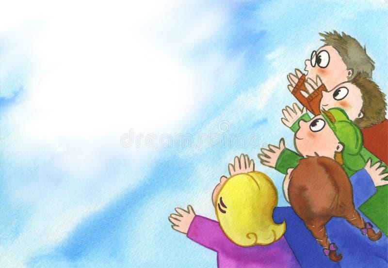 Miúdos gritando felizes ilustração stock