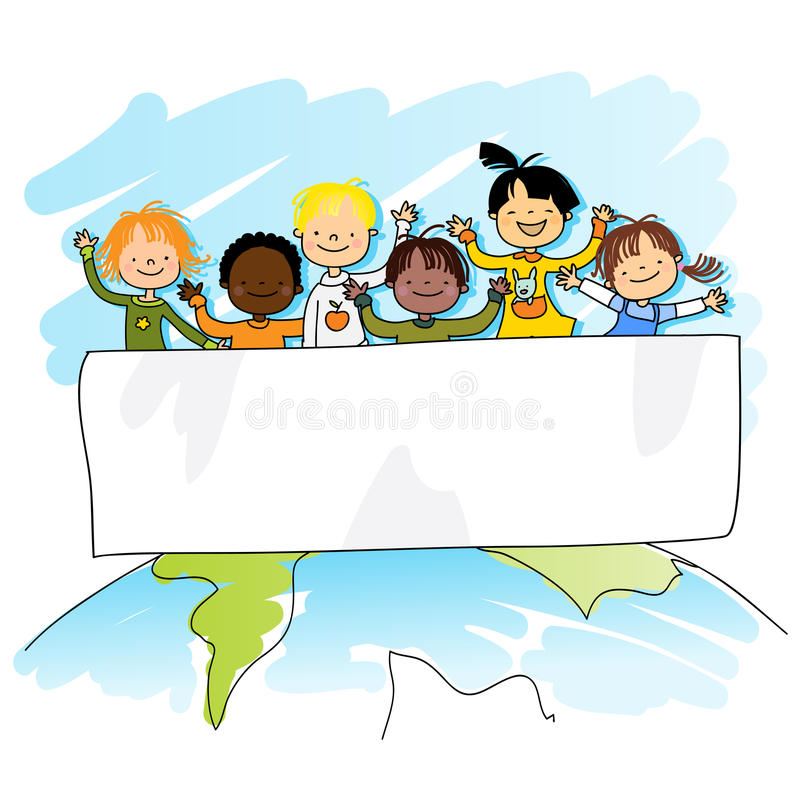 Miúdos Multiracial ilustração stock