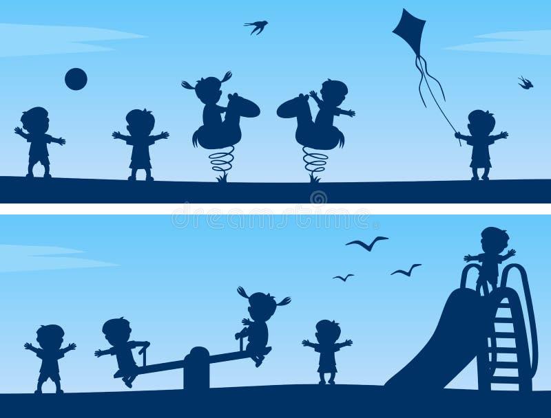 Miúdos nas silhuetas do parque ilustração do vetor