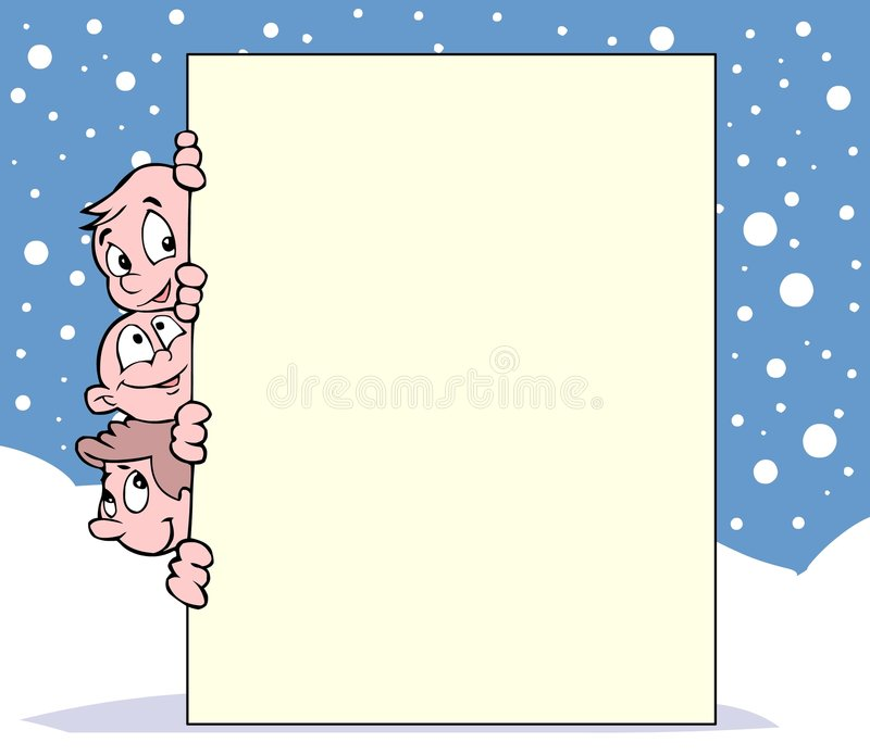 Miúdos, neve e bandeira ilustração royalty free