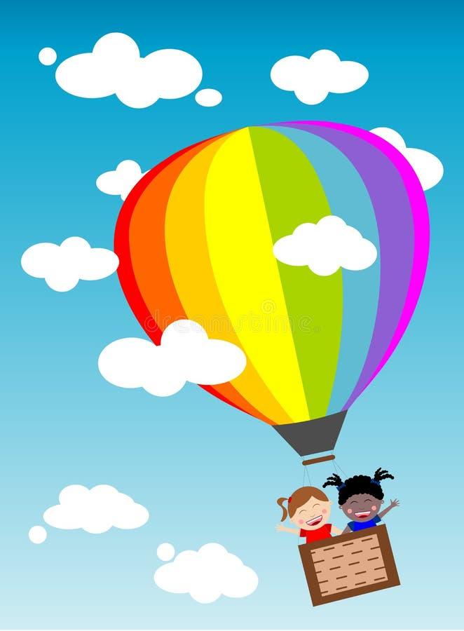 Miúdos no balão ilustração stock