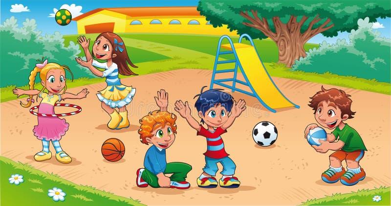 Miúdos no campo de jogos. ilustração royalty free