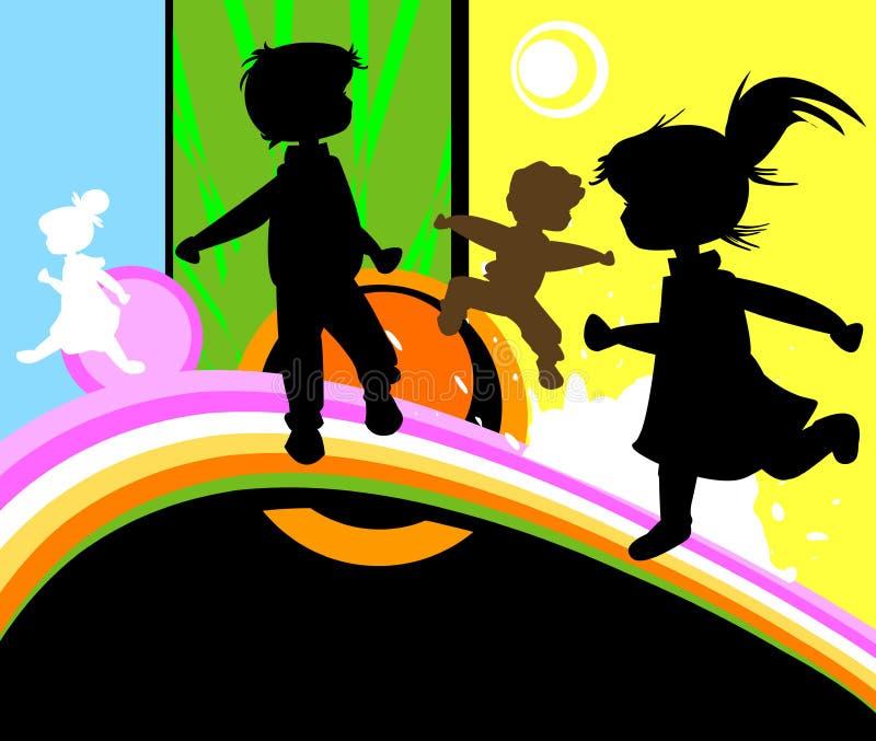 Miúdos no jogo ilustração stock