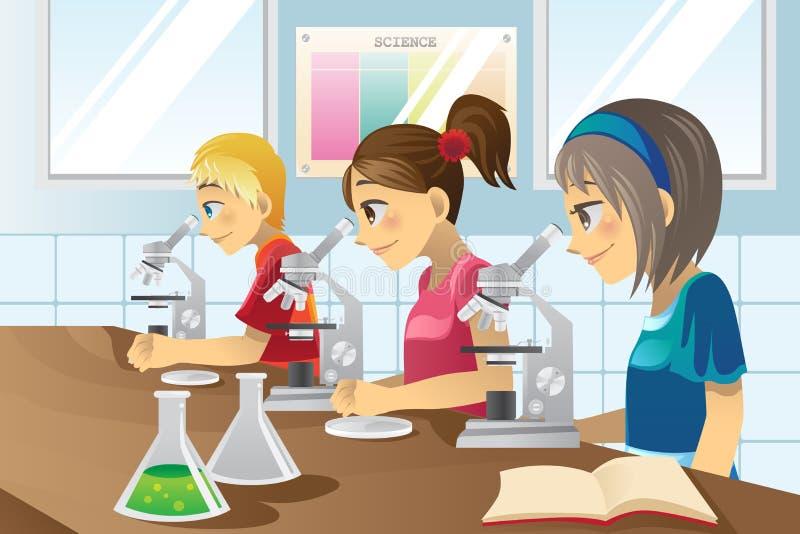 Miúdos no laboratório de ciência ilustração stock